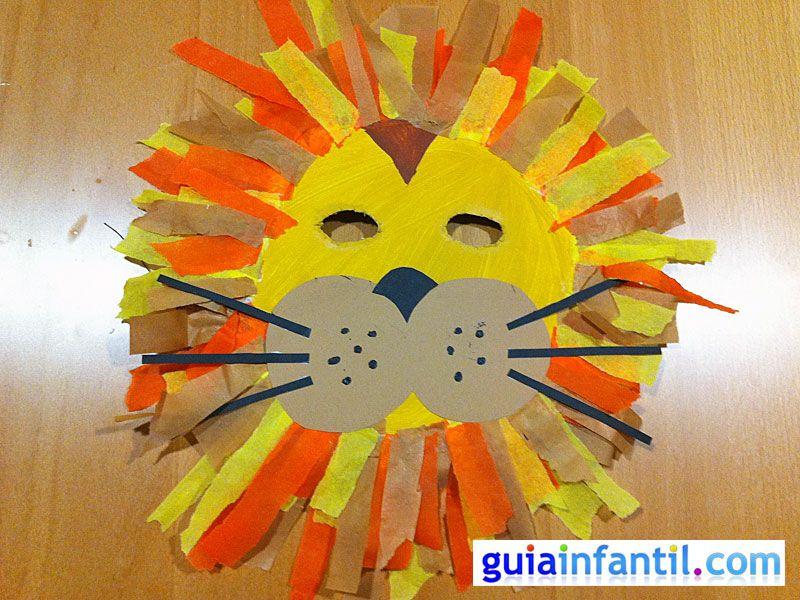 M scara de le n con plato de papel manualidades de carnaval art activities and craft - Manualidades con papel craft ...