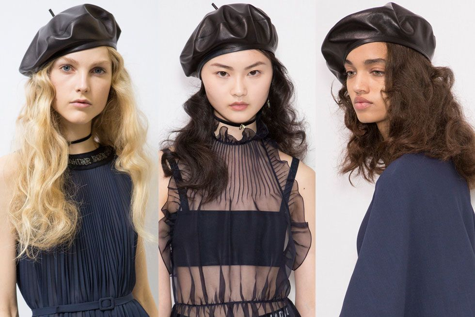 e46224409e1 Dior paired dreamy romantic waves with a classic beret for their Fall 2017  show.