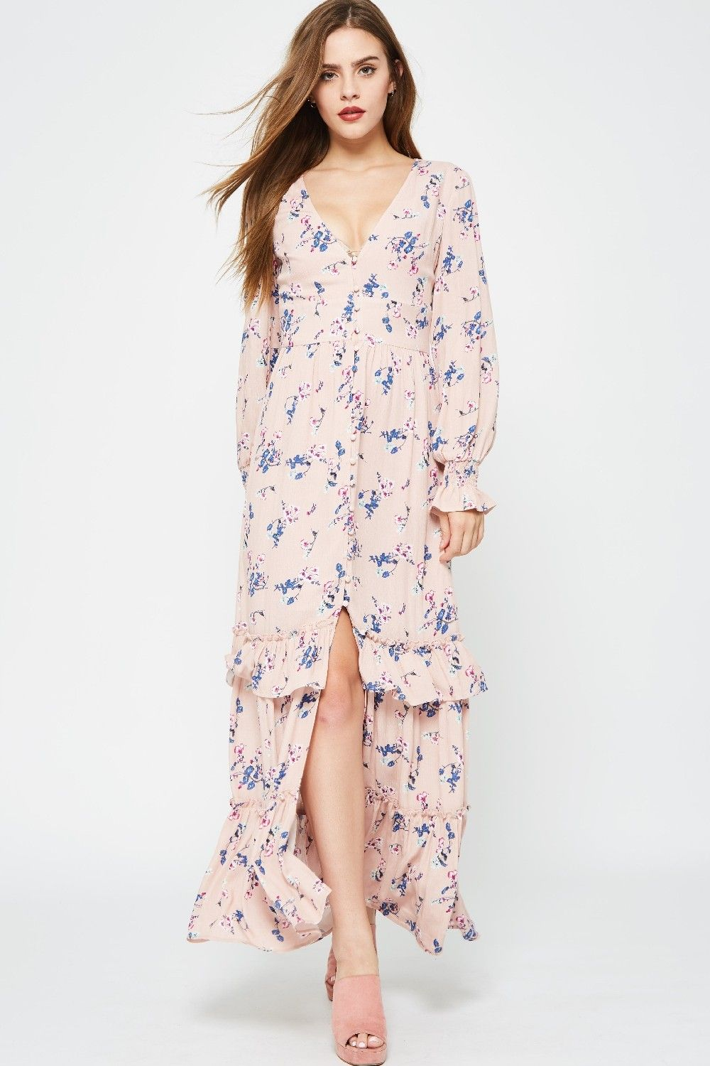 Hrd a floral maxi dress featuring smocked long sleeves