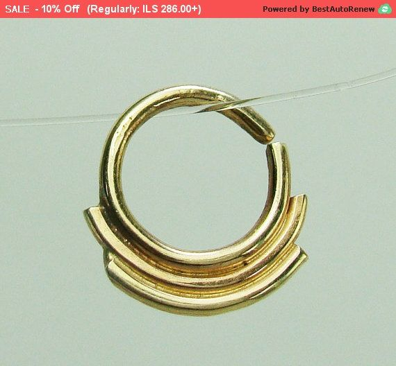 Tribal septum ringGold Septum ring septum by ShirazelohevJewelry