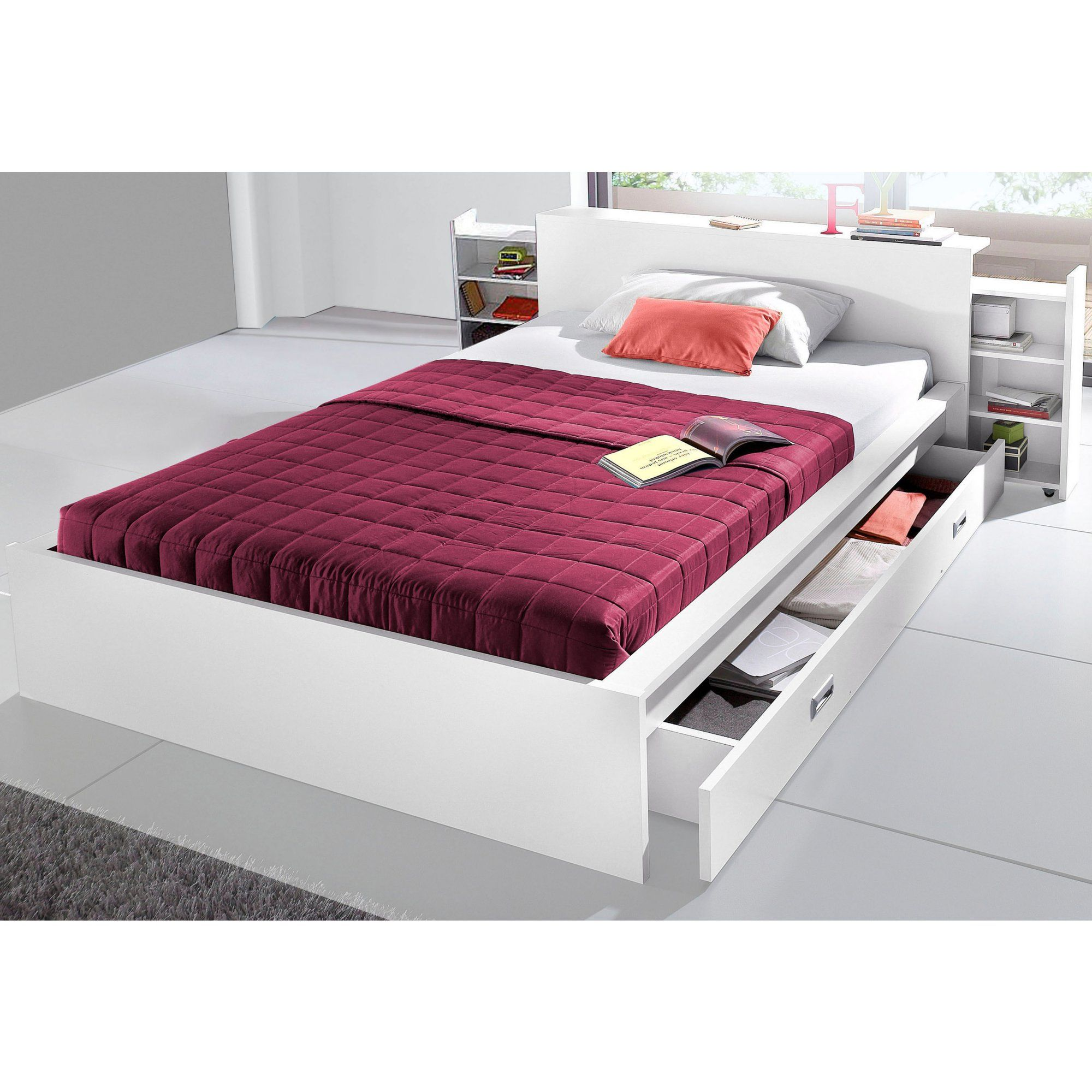 futonbett in 3 verschiedenen ausf  hrungen made in germany lit futon 1 ou 2 personne s  avec   tag  re s  coulissante s   lit      rh   pinterest