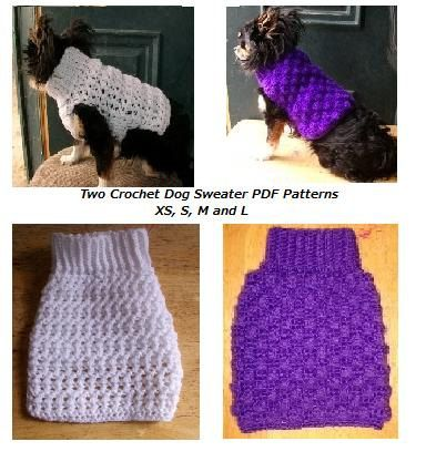 Crochet Dog Sweater 2 PDF Patterns for XS S M by copperllamastudio, $4.00