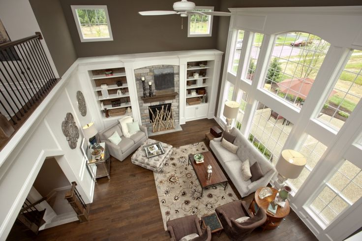 Great Room Colors love window setup above 1 story fireplace/built in bookcases and
