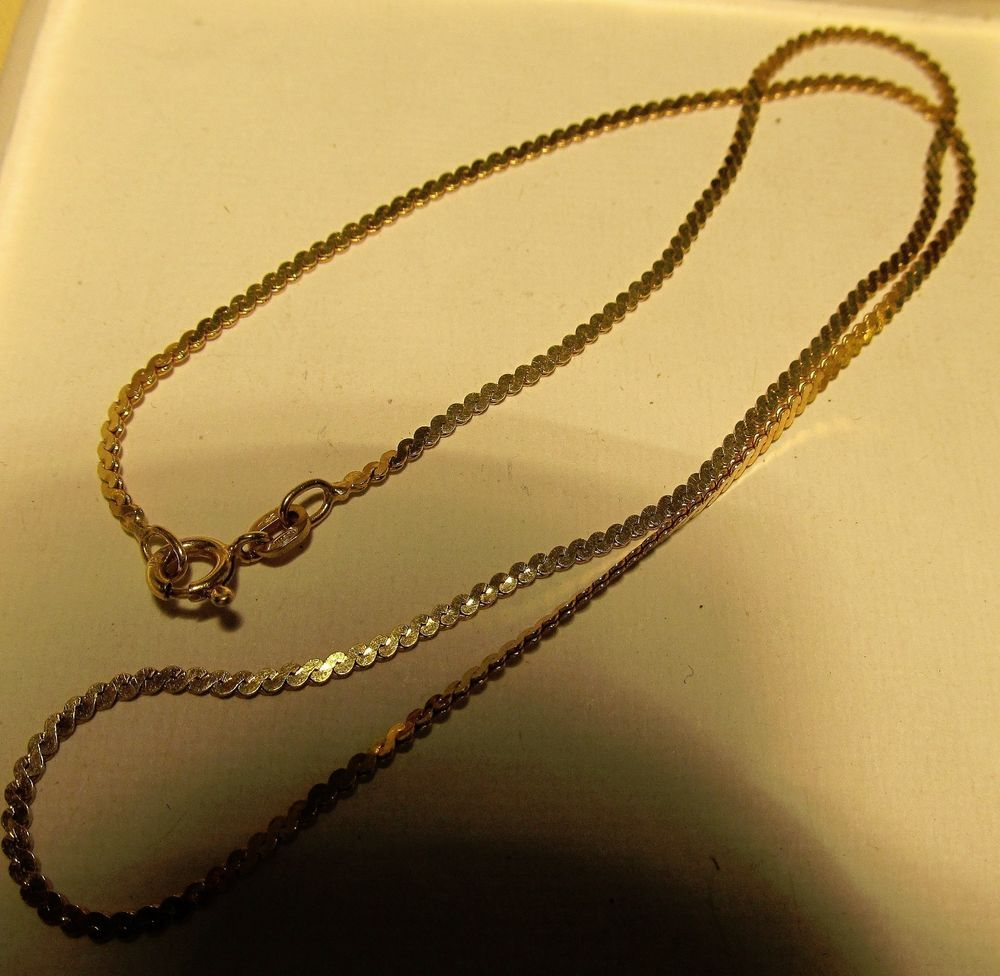 9e08c9d6a9 Details about 10 KT Yellow Gold Link Chain w/ Circles Necklace 16~18 ...