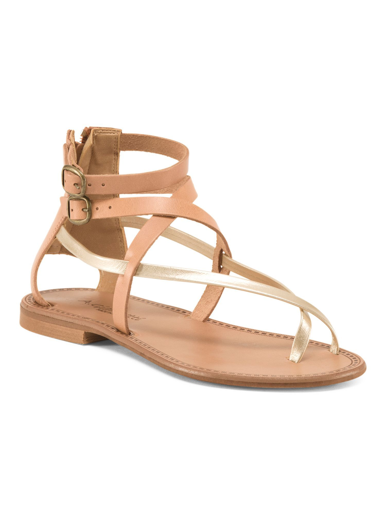 891ff2380 Made In Italy Zip Back Strappy Leather Sandals | Products | Leather ...