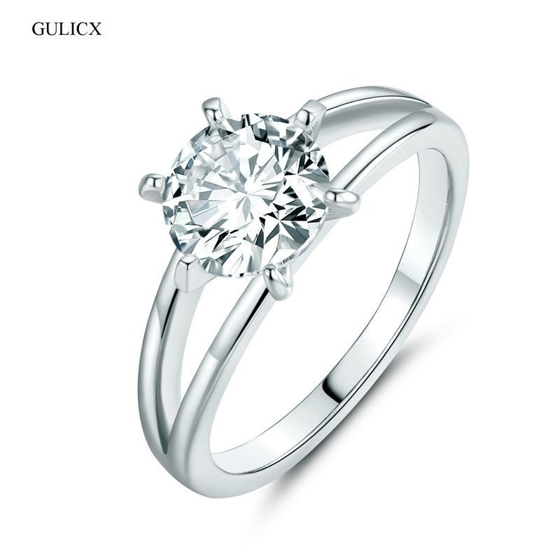 GULICX Fashion Wedding Ring for Women White Gold Plated Crystal Ring Cubic Zirconia Engagement Wedding Ring bague femme R025