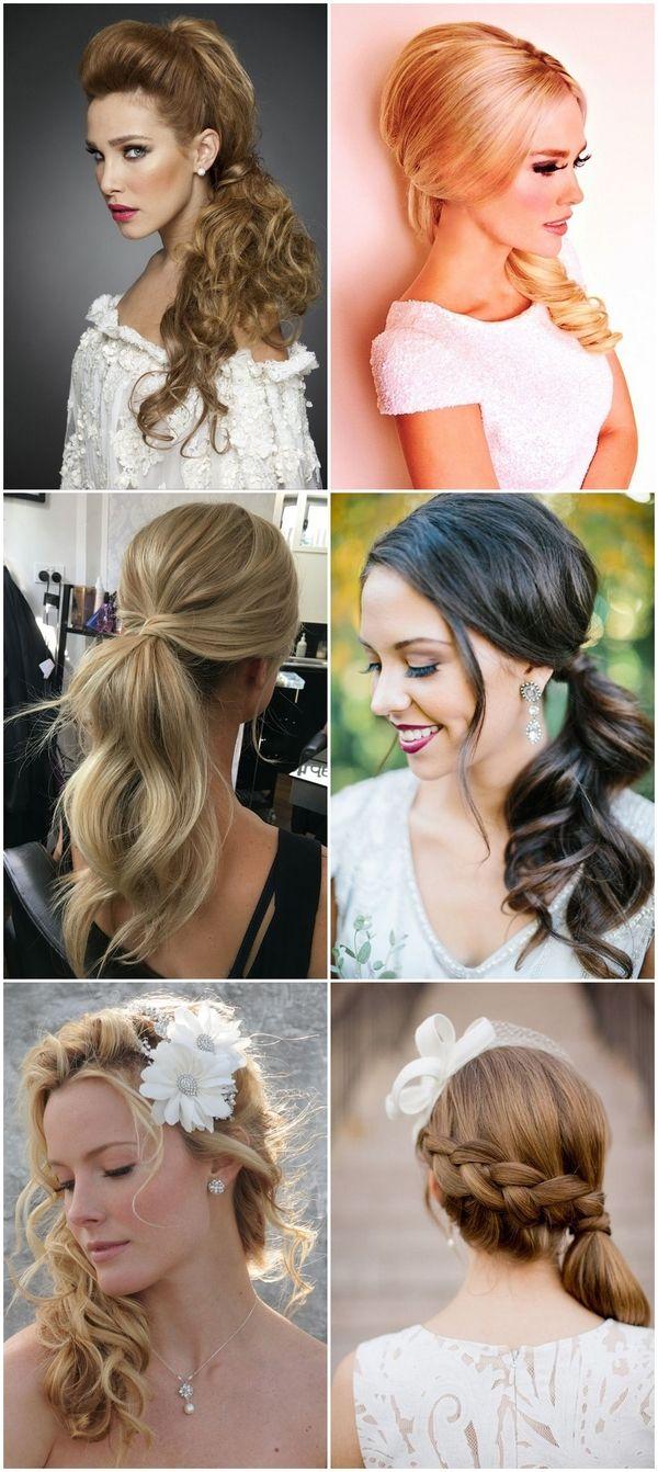 Wedding hairstyles for bridesmaids ponytail half up half down