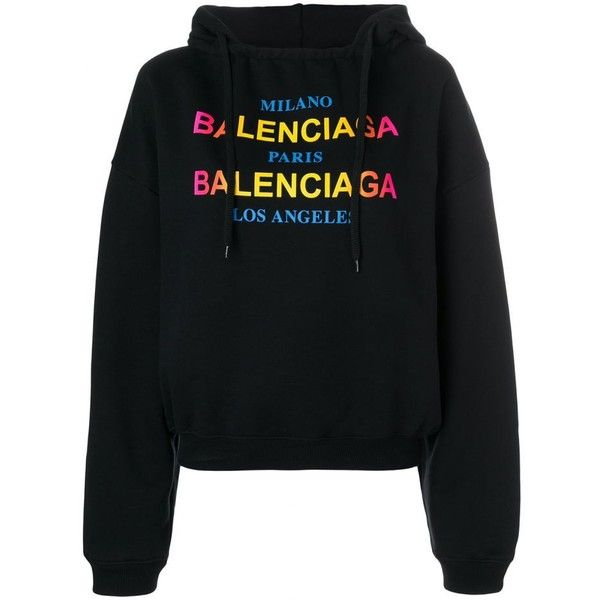 c13f1874d28df9 BALENCIAGA Logo hoodie ( 887) ❤ liked on Polyvore featuring tops ...