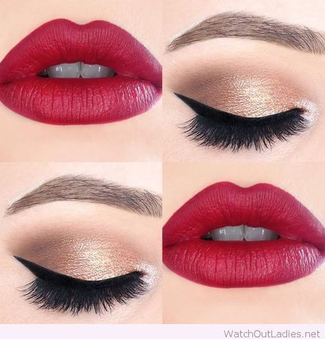 Gold And Black Eye Makeup With Hot Red Lips Makeup Geek