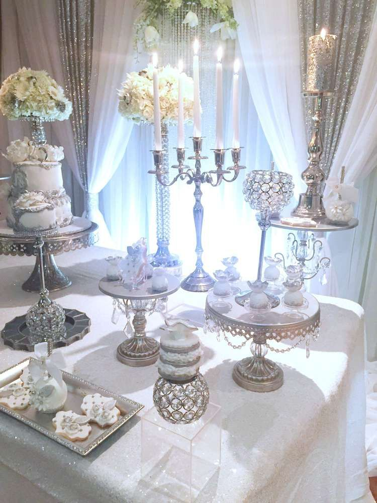 Love This Silver And White Anniversary Party See More Party Ideas