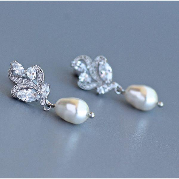 Leaf Crystal Earrings Dainty Bridal Earrings Bridal Stud Earrings... ($43) ❤ liked on Polyvore featuring jewelry, earrings, silver, weddings, swarovski crystal earrings, swarovski crystal jewelry, bridal earrings, swarovski crystal stud earrings and pearl stud earrings