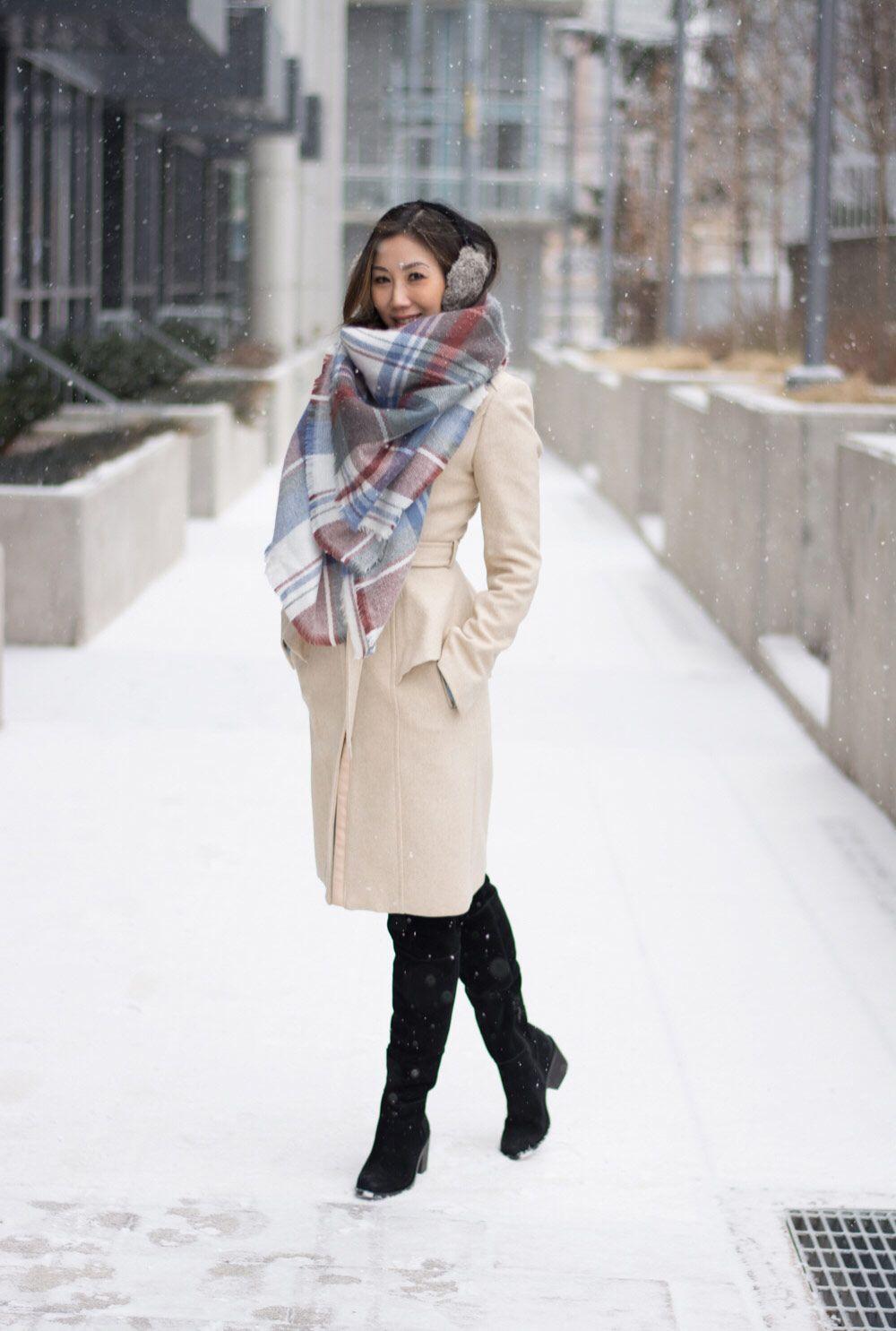 Winter Look Blanket Scarf & Long Wool Coat Long wool