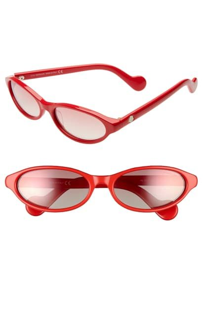 58mm oval sunglasses – shiny red/ bordeaux mirror