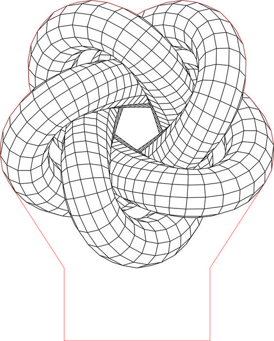 Torus Knot 5 3d Illusion Led Lamp Vector File Geometric Drawing Optical Illusions Art 3d Illusions
