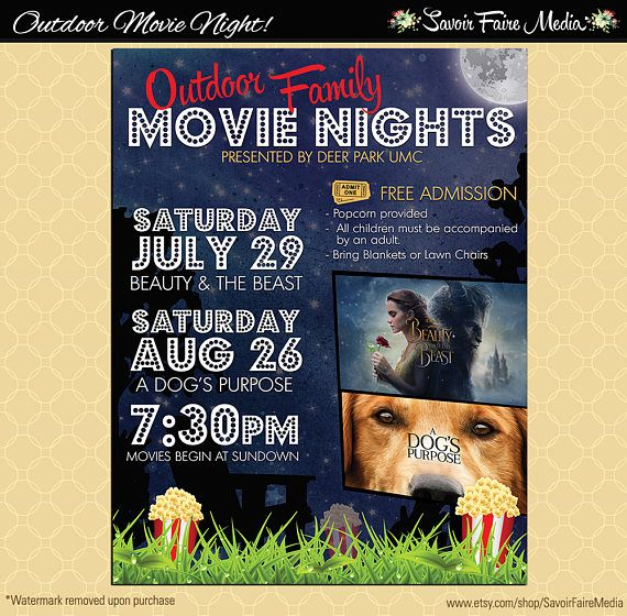Outdoor Movie Series Flyer   Movie on the Green Poster   Template - movie invitation template free