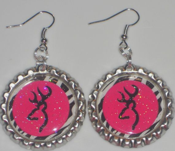 Browning earrings Hot Pink Zebra on by UniquelyYoursByRenee, $5.00