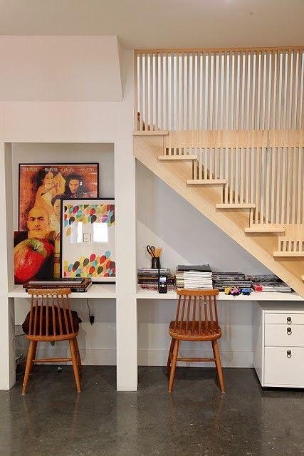 2 Work Stations Or Desks Under Stairs Desk Under Stairs