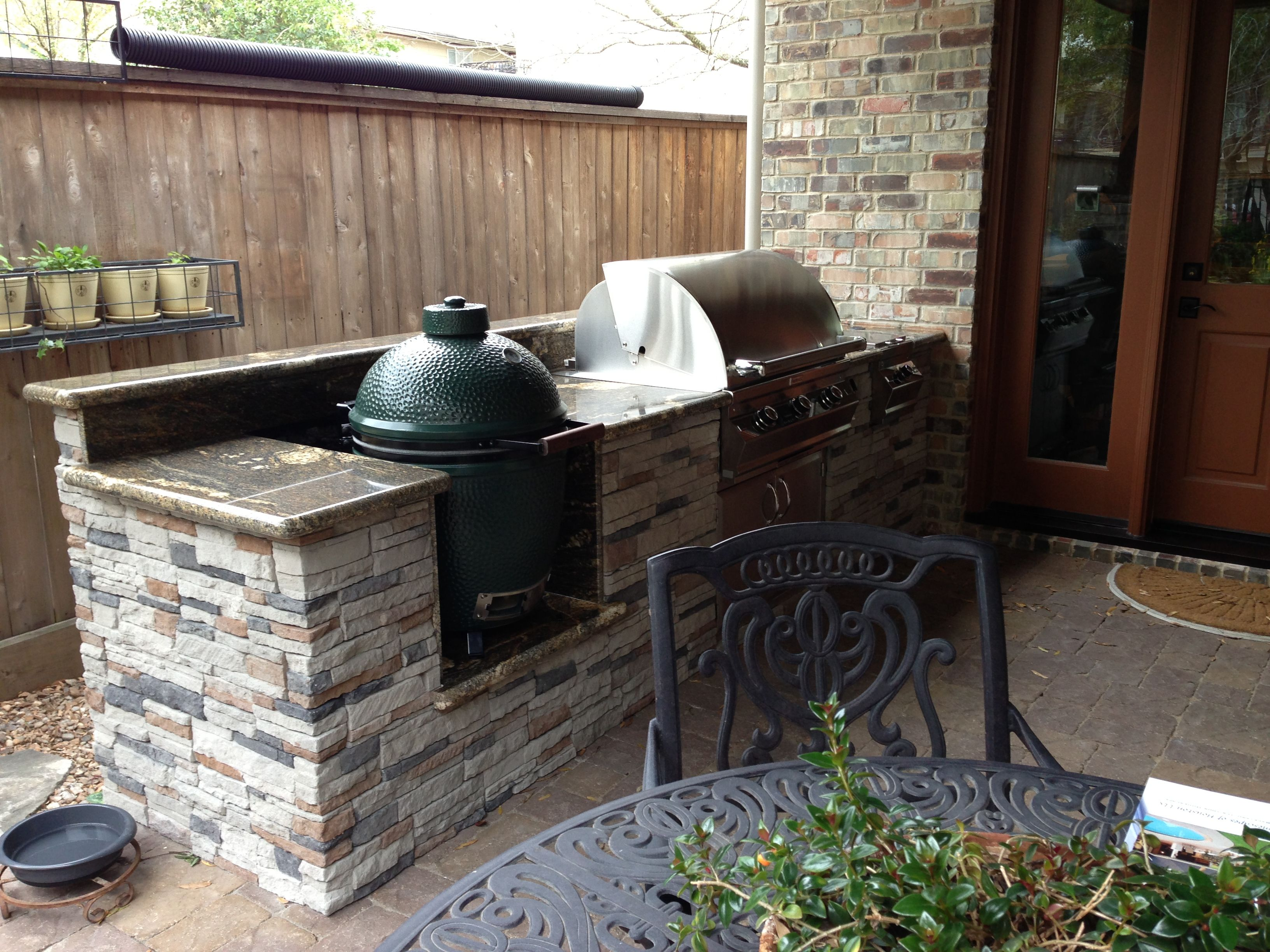 Green Egg Built Into Outdoor