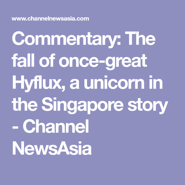 Commentary: The fall of once-great Hyflux, a unicorn in the