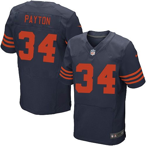 Nike Elite Walter Payton Navy Blue Men's Jersey - Chicago Bears #34 NFL  1940s Throwback