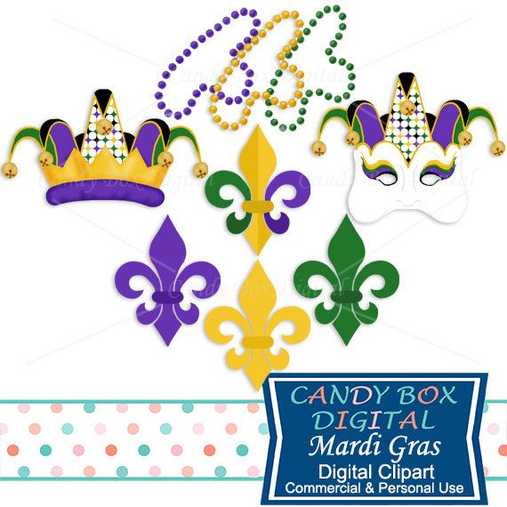 Mardi Gras Clipart with Jester Mask, Beads, and Fleur De Lis Clip ...
