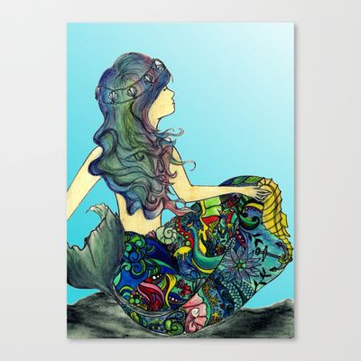 Mermaid+Stretched+Canvas+by+Audrey+Gilmore+-+$85.00