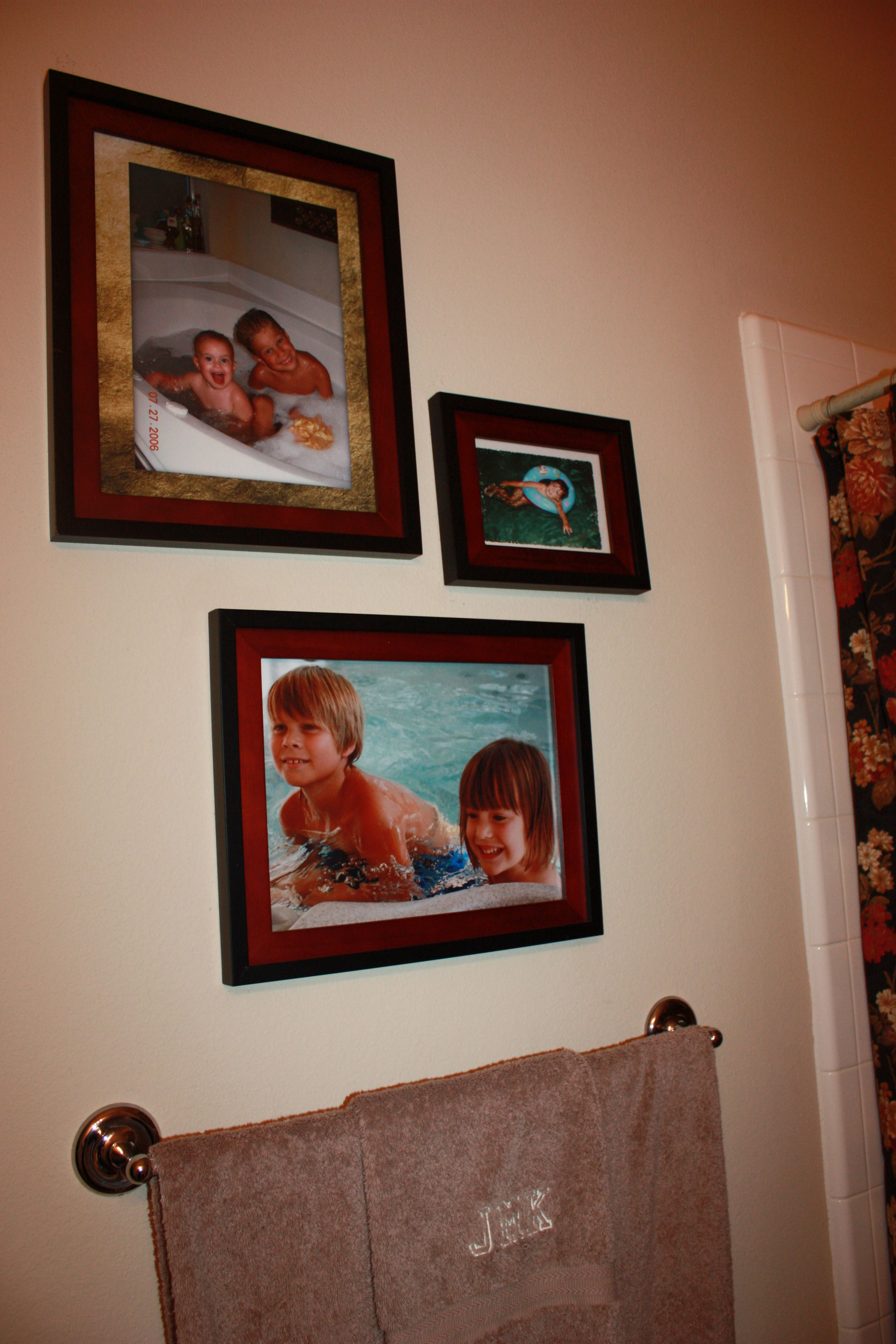Hang photos of your children in their bathroom. Make sure they are water photo's!