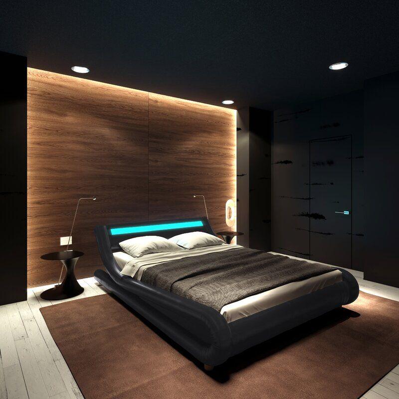 Karratha Upholstered Low Profile Platform Bed In 2020 Black Bedroom Design Bedroom Interior Mens Bedroom Decor
