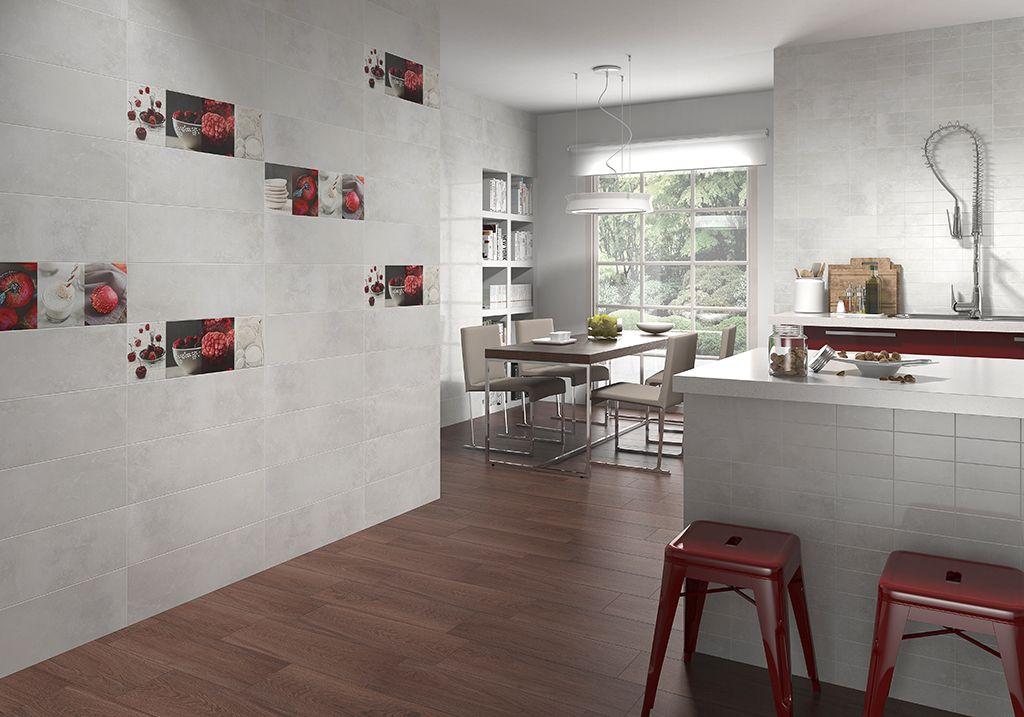 Kitchen Tiles Highlighters rvto / wall / rvtm: acero perla 20 x 60 / acero rlv. cuadro perla