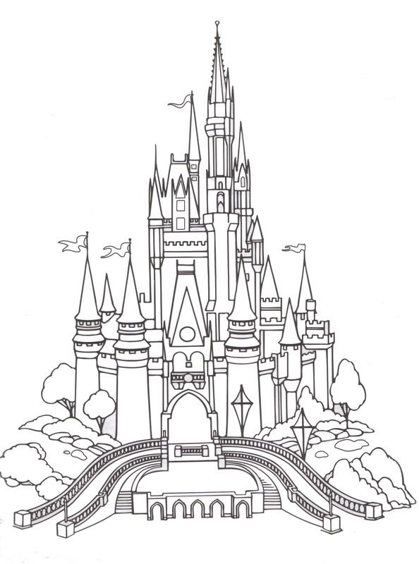 Disney Printable Coloring Pages Castle Coloring Page Disney