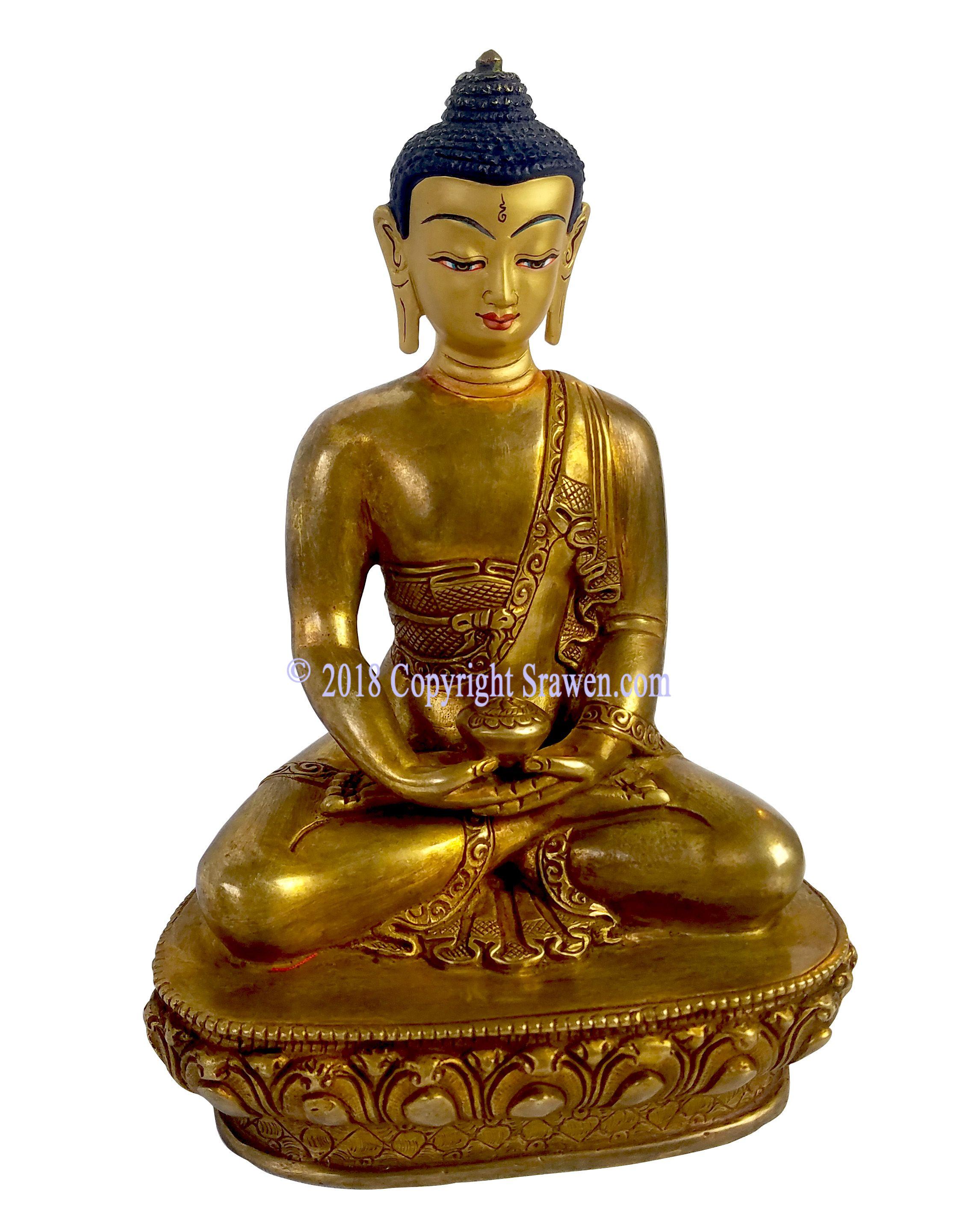 Gold Plated Bronze Buddha Statue