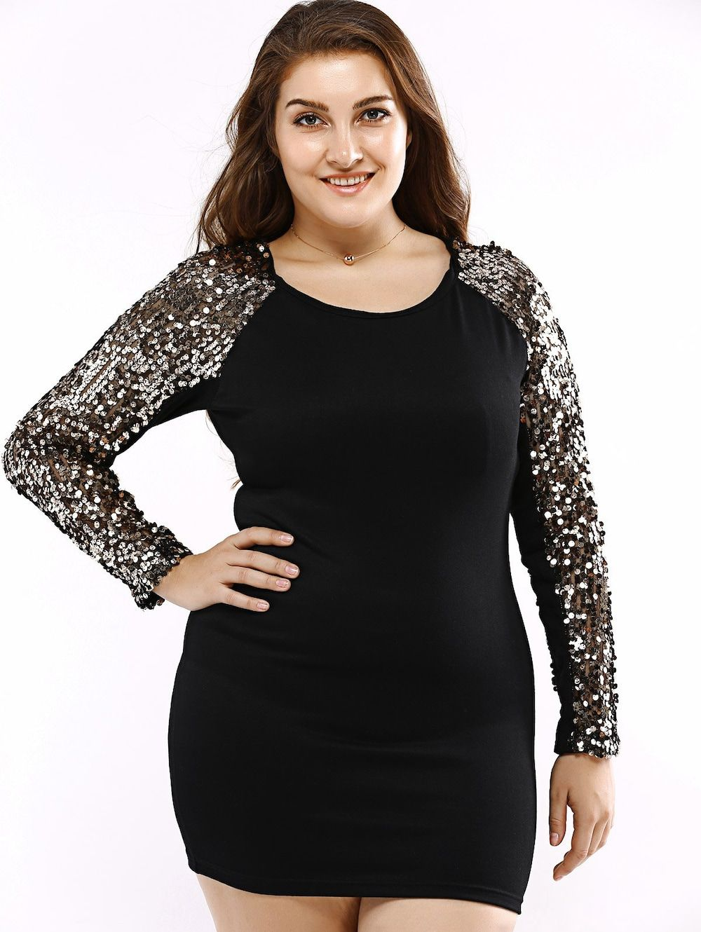 Plus size bodycon long sleeve sequin t shirt dress sequins zig