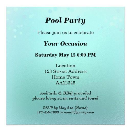 Aqua Teal Sparkling Pool Party Invitation