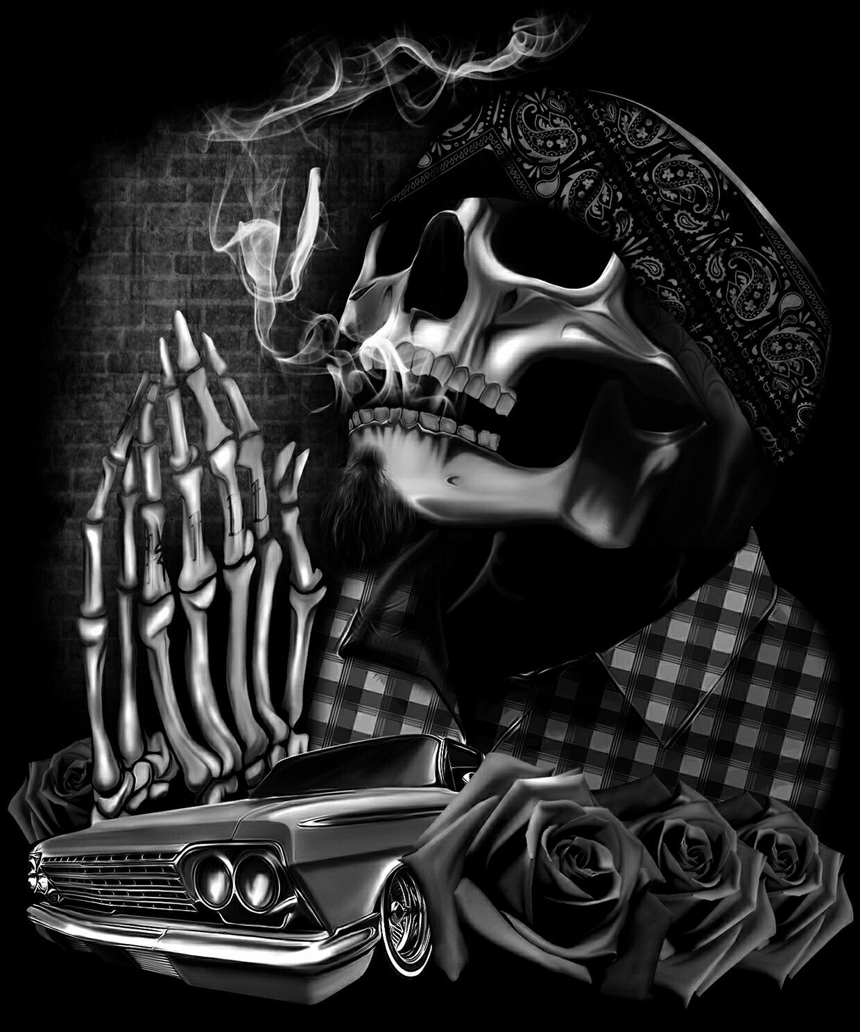 Dga Tees Skull Gangster Arte Bar Mexicano