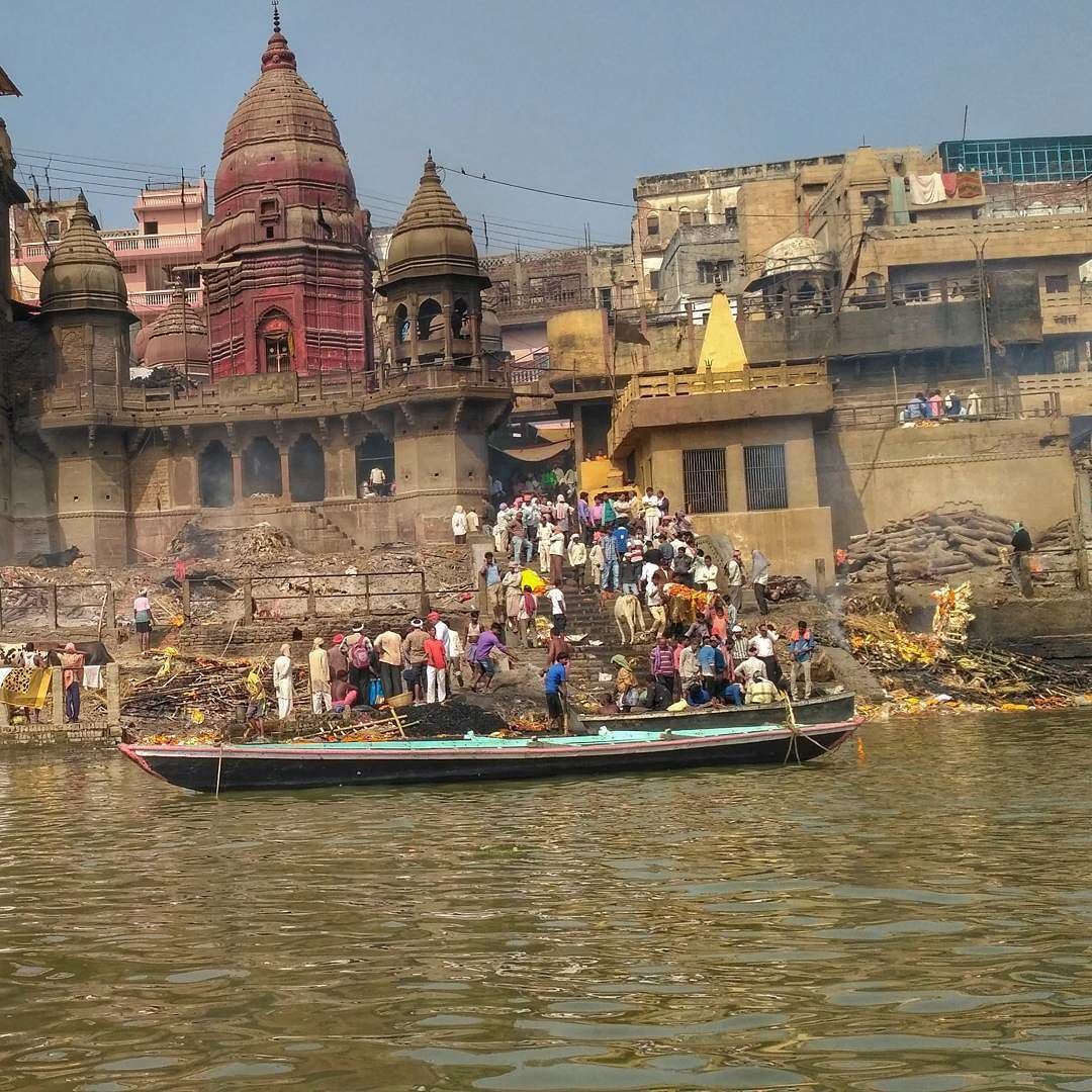 The Ghat where dead Hindus are cremated!! Today have been the busiest day at this ghat a lot of dead people waiting for their turns.  Other than Temples and Ghats Banaras is known fir this Ghat. If you end up here then you go straight to the heaven as believed!! People usually find peace here.