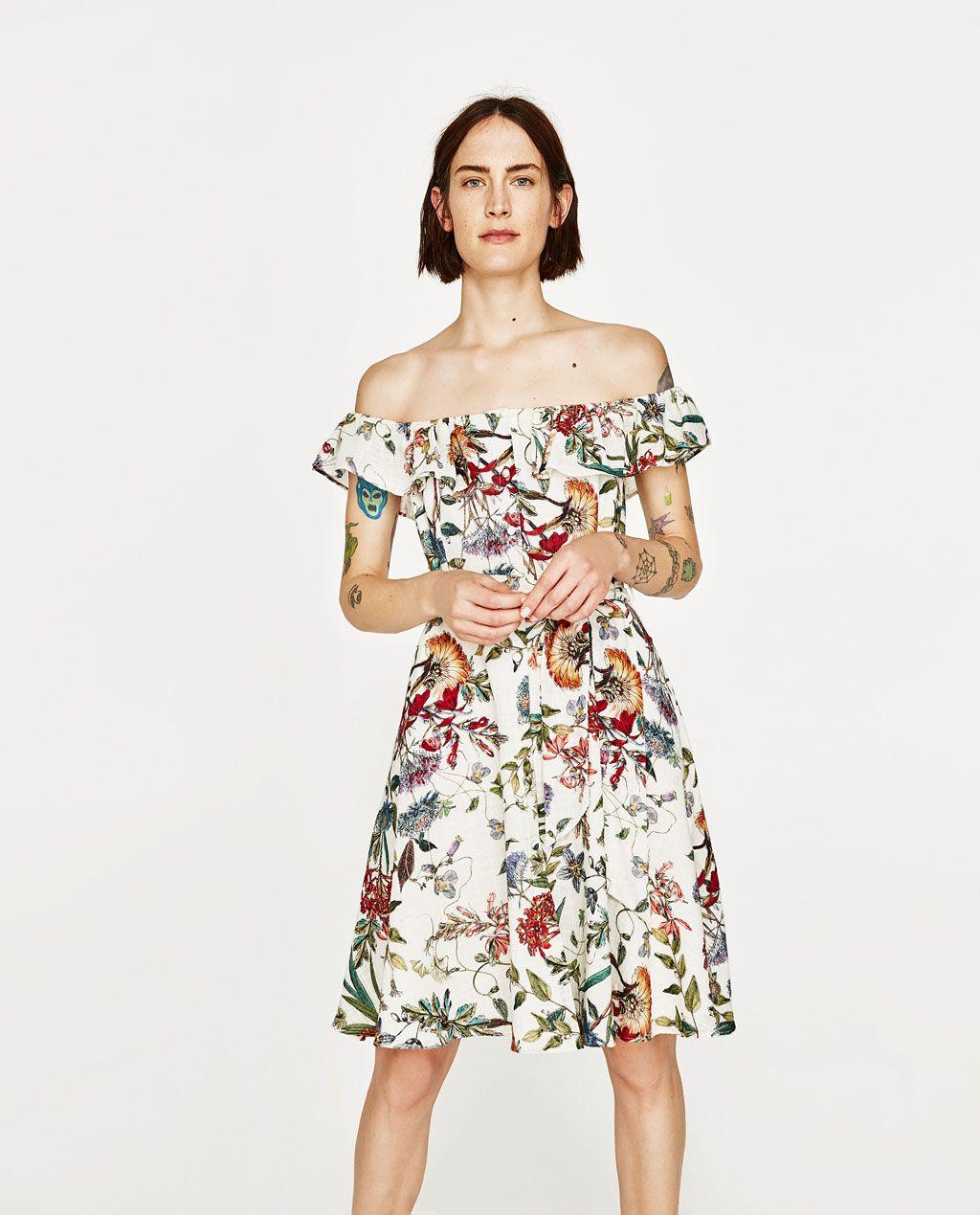 Cicek Desenli Keten Elbise Elbise Kadin Zara Turkiye Elbise Zara Kadin