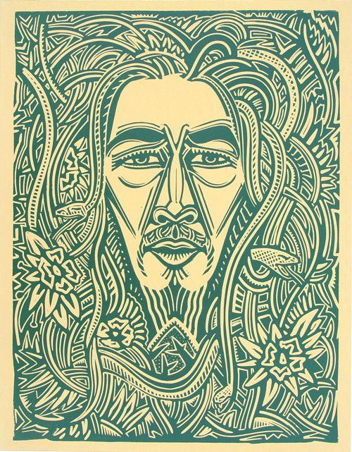 Bob Marley I - Relief-block print, The Alcorn Studio & Gallery