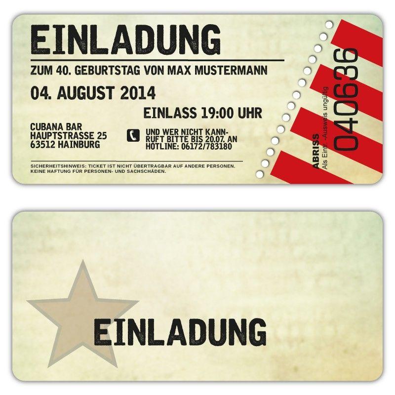 Einladungskarten Fur 5 Geburtstag Gestalten: Einladung Zum Geburtstag Als Eintrittskarte, Ticket