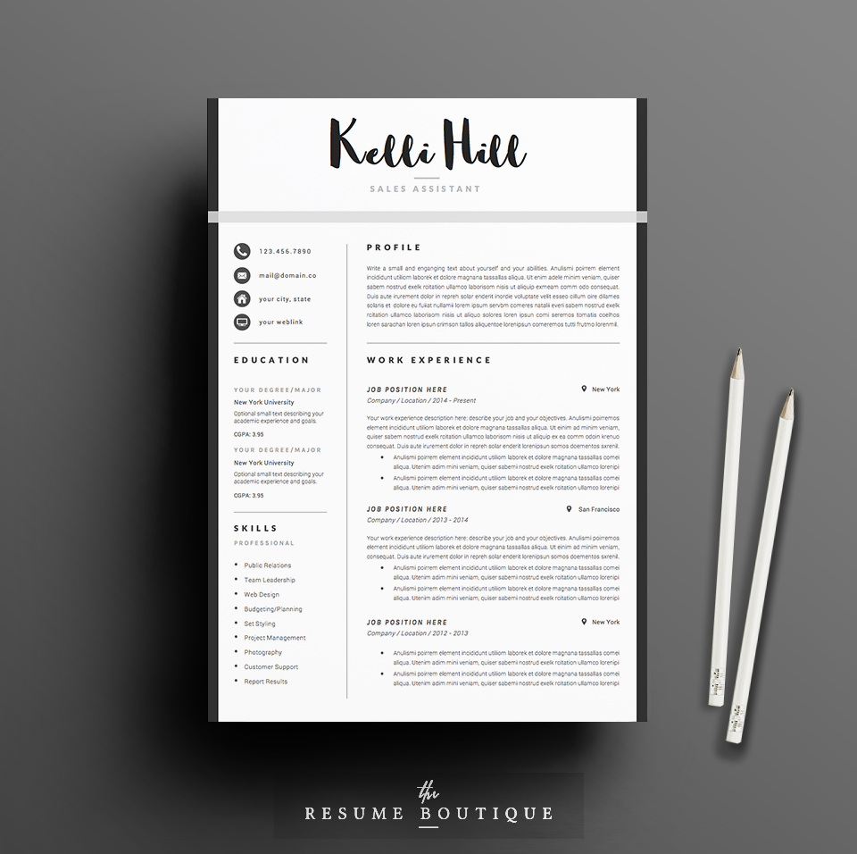 Resume Template 4page Jolie By Thesumeutique On