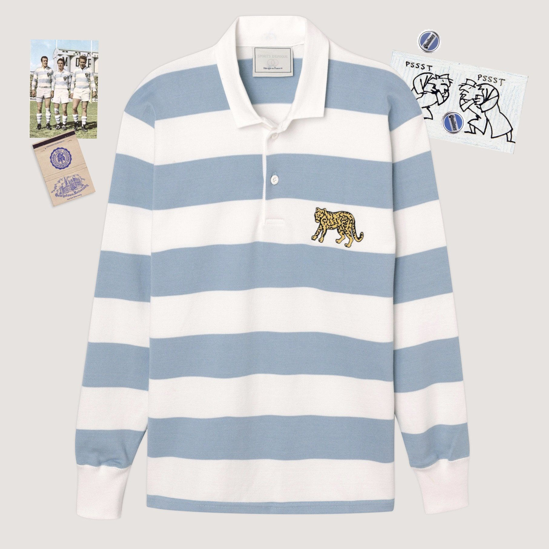 White And Light Blue Striped Rugby Jersey With Embroidered