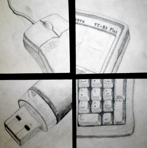 Four items that represent you...cropped and up close drawing