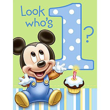 Our Disney Mickey Mouse 1st Birthday Invitations Are Simply Adorable With Baby Wearing Blue Overalls Saying Look Whos 1 Sold In Packages Of 8