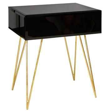 Biscayne Hollywood Regency Black Glass Nightstand Side Table Black Glass Side Table Black Side Table Contemporary Side Tables