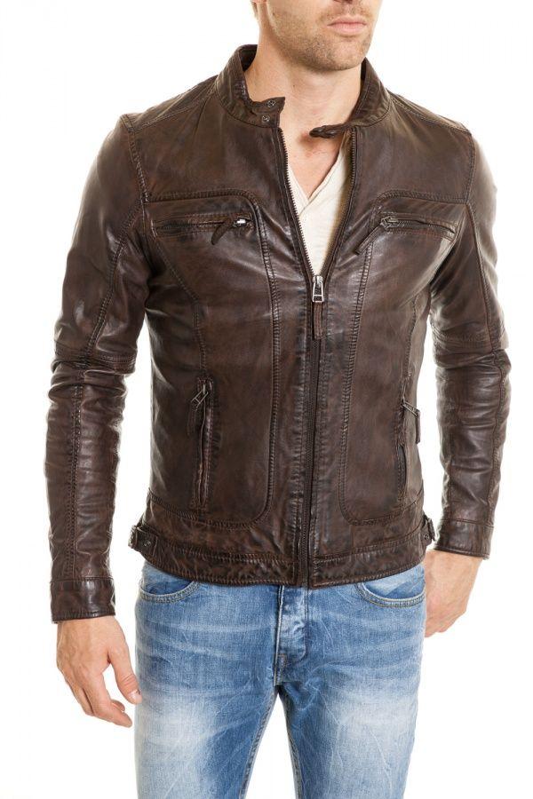 Blouson cuir marron motard