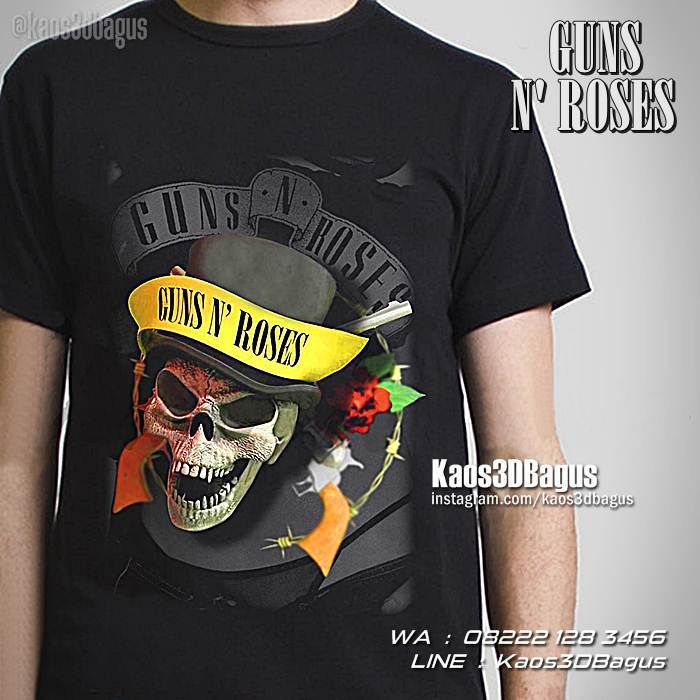 Kaos Guns N Roses Kaos Gnr Kaos Heavy Metal Kaos 3d Tengkorak Musisi
