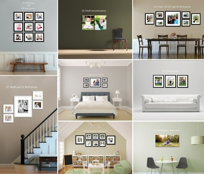 Graue Gestaltung Von Dem Flur Mit Wanddeko Bilderrahmen: Verschiedene Kombinationen Und Bilderrahmen-Größen