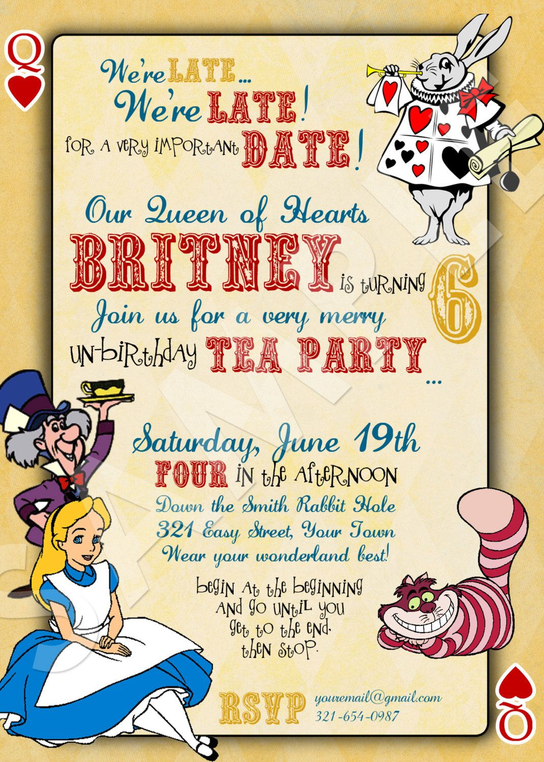 ALICE IN WONDERLAND Custom Birthday Invitation