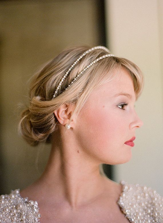 Hair With Head Piece Fine Fleurie Double Strand Swarovski Pearl And Crystal Bridal Headband Tiara PETITE Version In Ivory Or White