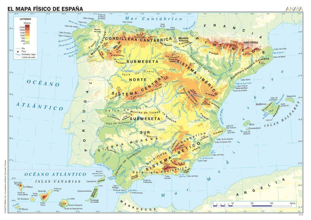 Mapa De España Físico.Mapas De Espana Fisicos Politicos Y Mudos Mapa Fisico De