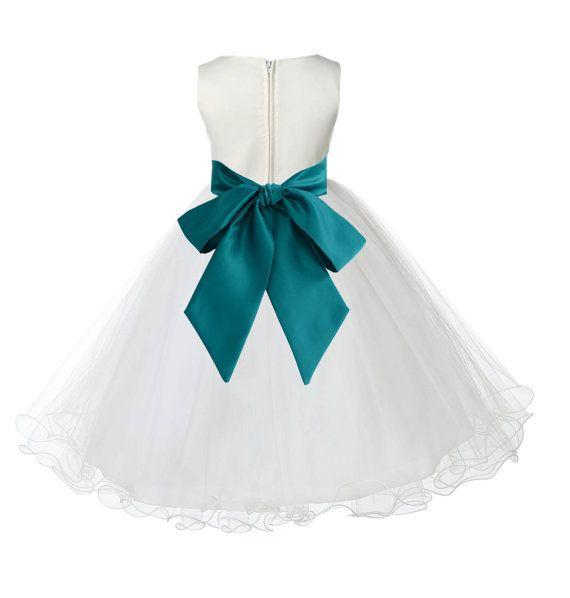 Ivory Flower Girl dress tie sash pageant wedding by ekidsbridalusa